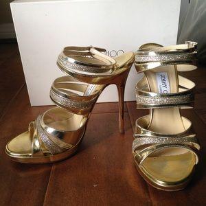 Jimmy Choo Buzz Gold Leather Sandals Sz 7.5